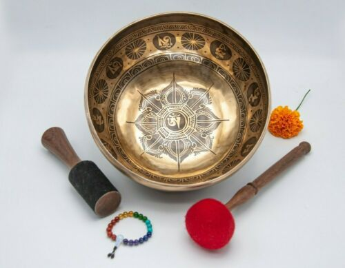 11 inches Diameter Mantra carved master Healing Himalayan singing bowl-yoga
