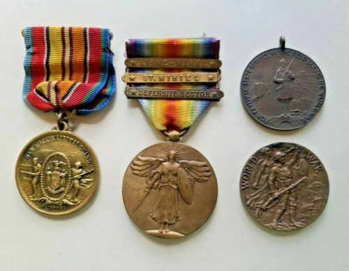 Lot of 4 WW1 US Military Medals