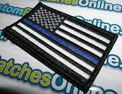USA American Flag Patch with Subdued Blue Line Theme Iron- On Patch