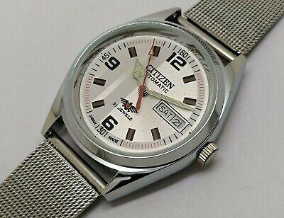citizen automatic men's steel silver dial day/date vintage japan watch run