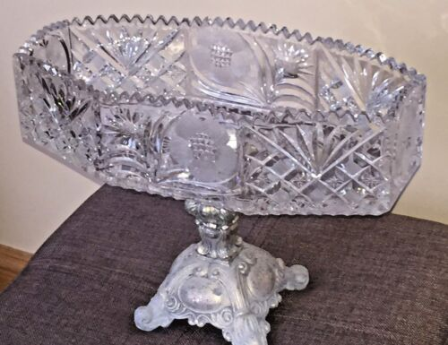 VINTAGE CRYSTAL OCTAGON BOWL WITH BRASS STAND. Free Shipping