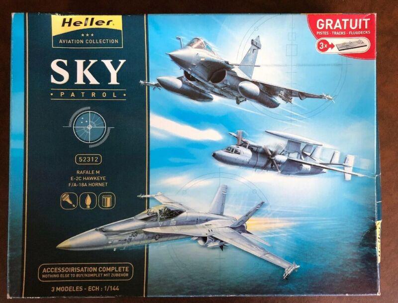 Boîte de 3 Maquettes Avions HELLER Rafale Hawkeye Hornet Échelle 1/144 - Neuf