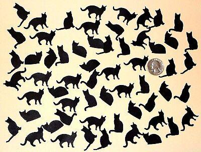 **SALE**60 Handmade, Assorted Black Cat Die Cut Embellishments