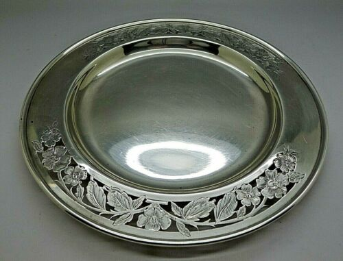 GALE WOOD & HUGHES STERLING SILVER RARE RETICULATED (HAND CUT) FLORAL PLATE 1845