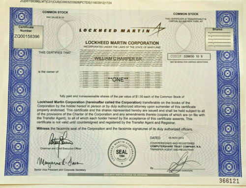 Lockheed Martin defense and aerospace company stock certificate
