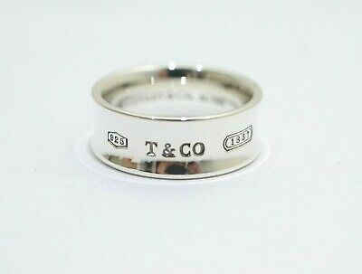 """Tiffany & Co. Sterling Silver 7mm Wide 1837 Concave Band Ring Size 5"""""""