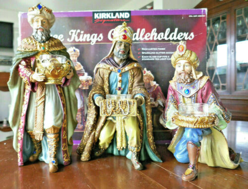 "Kirkland Signature Three Kings Candle Holders Christmas Nativity Votive 12"" Tall"