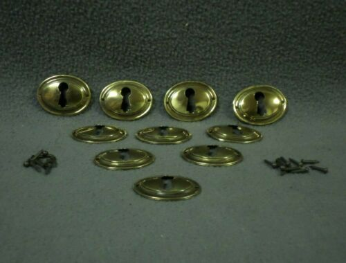 (C)10 BRASS KEYHOLE ESCUTCHEONS w/Nails Skeleton key cover plate oval round lock