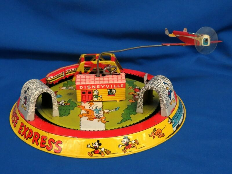 "Marx ""The Mickey Mouse Express"" Windup Tin Train, Plane Disneyville Very Nice"