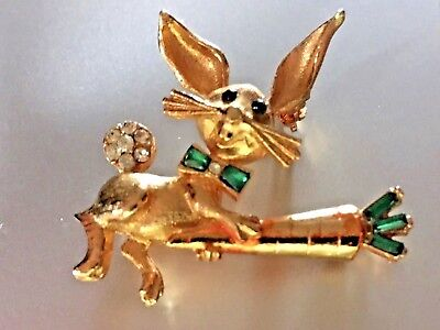 Signed Vintage MYLU Gold Tone Bunny Rabbit / Carrot Brooch Pin Bow Tie and Tail!