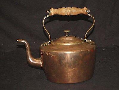 Antique Primitive Copper Tea Pot Kettle w Wooden Handle Country Farmhouse Decor