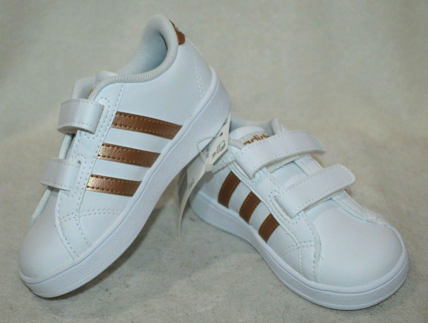 adidas Baseline CMF INF White/Copper Girl's Toddler Sneaker-7/8/9/10K NWB DB2755