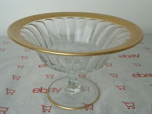 Vintage Scalloped Glass Footed Pedestal Compote Bowl With Bracelet Gold Trim