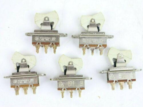 5 pcs Vtg NOS Stackpole DPDT Rocker Switch White 3A 125V 1.5A 250V 0.5A 125V QTY