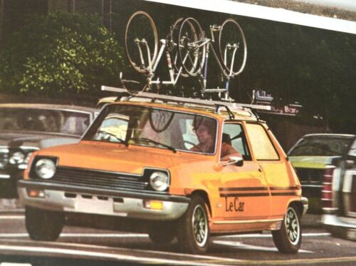 1977 Cyclist Le Car Renault Print Ad Bikes on Roof Lovers at Sunset on Beach