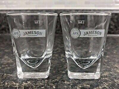 2 John Jameson & Son Irish Whiskey Embossed Prism Base 1.5 oz Shot Glasses NEW