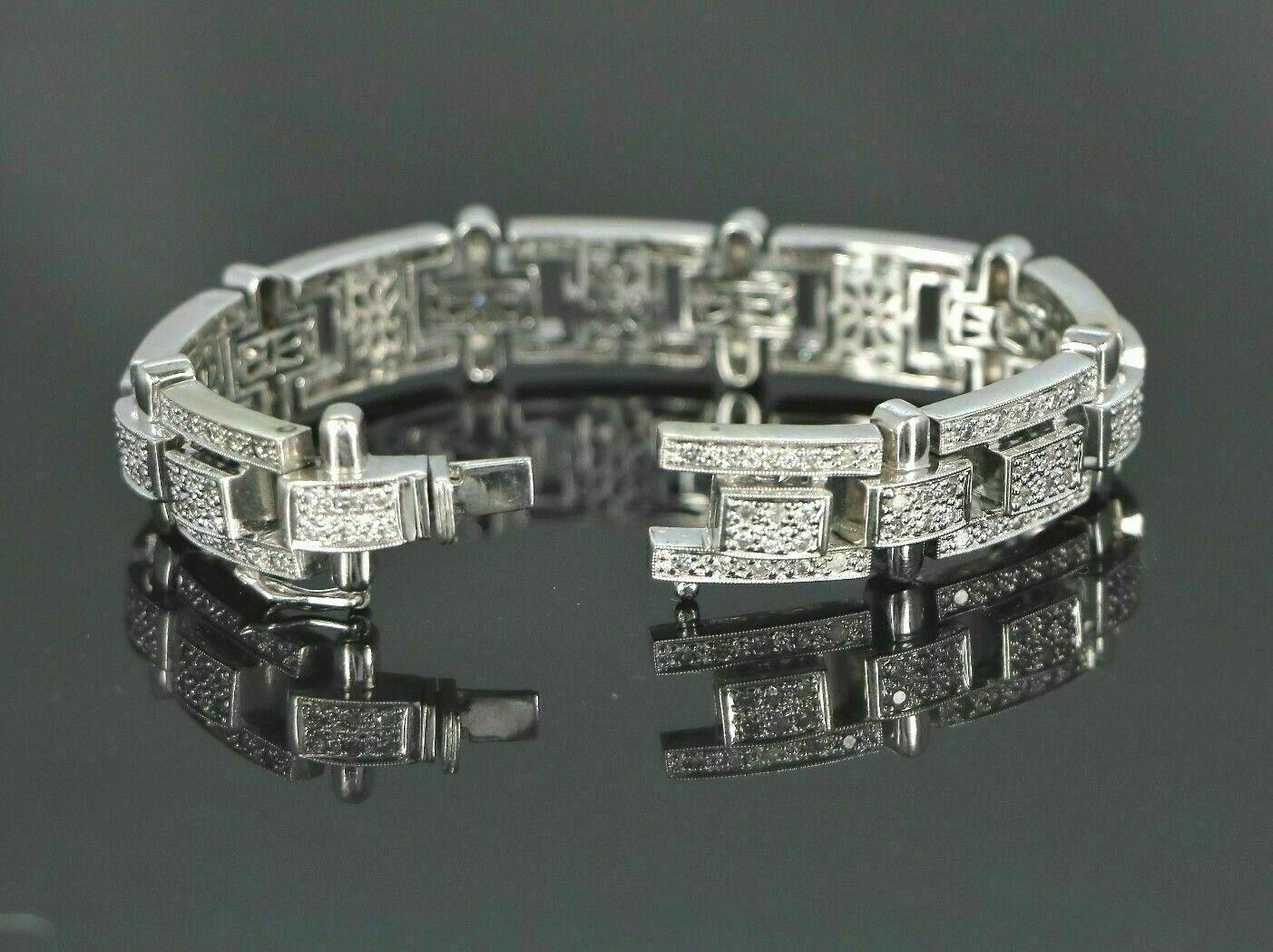 13.25Ct Round Cut Diamond 14K White Gold Over Men's Exclusive Tennis Bracelet 5