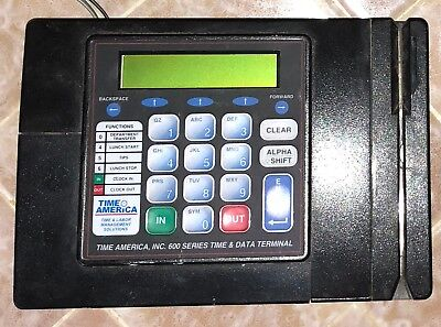 Time America 600 Series Time Clock Data Terminal Badge Card Reader