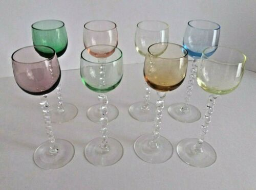 Vtg SET of 8 clear & COLORED LIQUOR GLASSES TWISTED STEM cordial shot aperitif