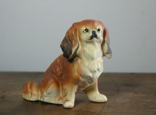 Vintage Ucagco Porcelain Japan Pekinese Dog Figurine Original Foil Label