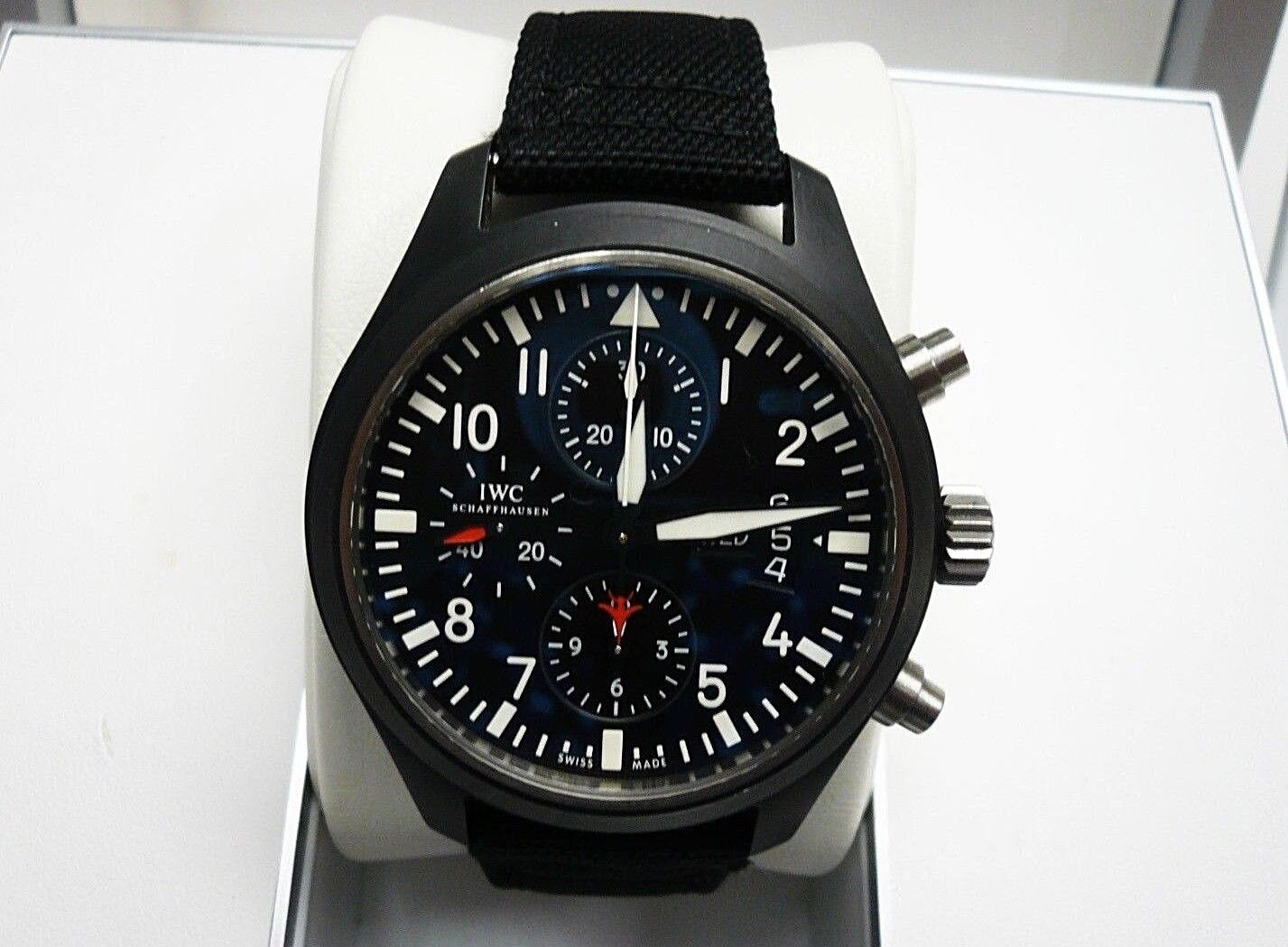 IWC Pilot Chronograph Top Gun Edition Black Ceramic Automatic Strap Watch - watch picture 1