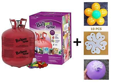 Helium Tank 14.9 cu.ft - 50 Latex Balloons + 10 pcs of Flower Shape Clips - Tank Of Helium