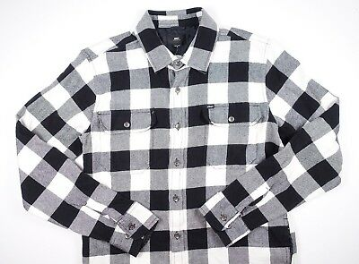 - OBEY Black White Multi Jet Woven Plaid Long Sleeve Flannel Button Up Shirt **NEW