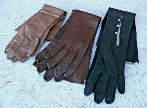 3 Pairs Vintage Kid Leather Long GLOVES ~ One Black with Buttons ~ Two Brown