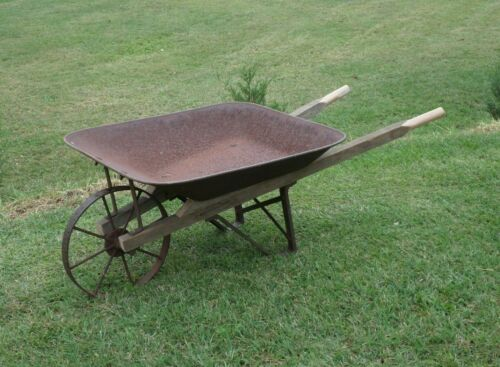 Antique STEEL & WOOD WHEELBARROW Rebuilt iron metal wheel farm garden Vintage