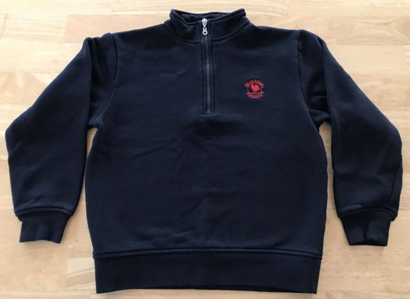 Primrose Uniforms Quarter-Zip Microfleece (navy) Crew Neck Sweatshirt (red) EUC