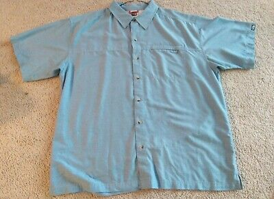 North Face Men's Short Sleeve Button Down Shirt Size XL ( Blue)