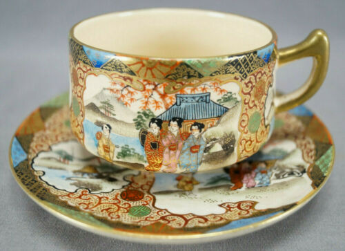 Satsuma Meiji Hand Painted Japanese Aesthetic Style Tea Cup & Saucer
