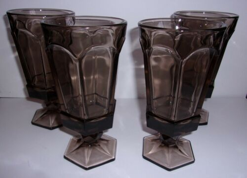 4 FOOTED ICED TEA TUMBLER VIRGINIA BROWN BY FOSTORIA