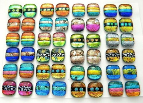 MATCHING PAIR Lot 48 pcs EARRINGS HANDMADE DICHROIC FUSED GLASS (X10) CABOCHON