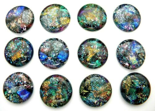GALAXY STYLE Lot 12 pcs round DICHROIC earrings pendants FUSED GLASS (BA17) CABS