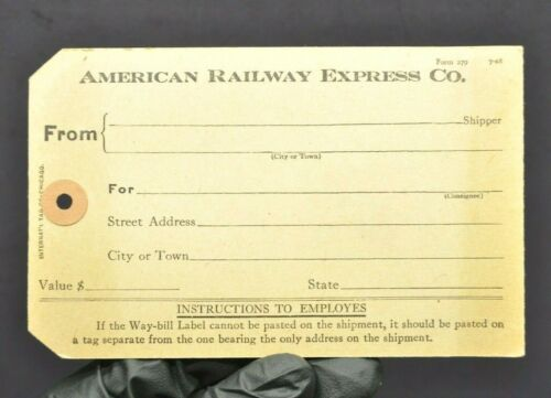 American Railway Express Tag 1918 Blank Unused Vintage Ticket