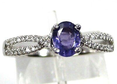 Purple Sapphire Ring Cross Over 14K White gold Solitaire Unique Heirloom $1,965 14k Purple Cross