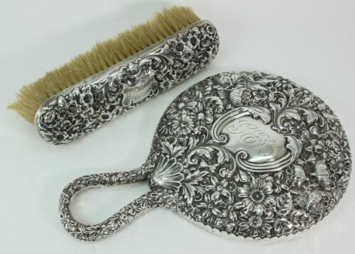 GORHAM ANTIQUE STERLING 335 HAND MIRROR AND BRUSH EMBOSSED REPOUSSE FLORA FS!