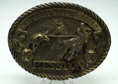 1980  Hesston Belt Buckle 1980 Adult Size Brass Sixth Edition New FREE SHIPPING