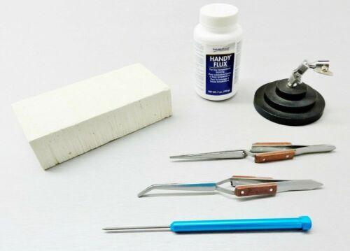 Jewelry Soldering Tools Set Magnesia Block Fiber Tweezers Pick Handy Flux Repair