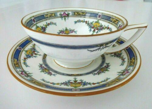 5 Antique Minton PRINCESS Bone China Hand Enameled Tea Cups & Saucers