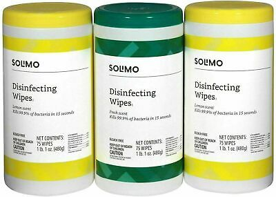 Amazon Solimo Wipes Lemon Fresh Scent 75 Count x 3 = 225 Wipes - SEE NOTES