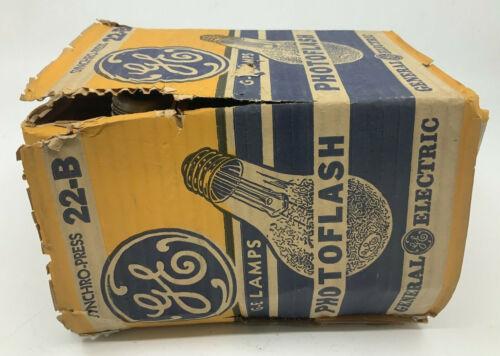 Box of 6 Vintage GE Photoflash Syncro-Press 22-B Flash Bulbs
