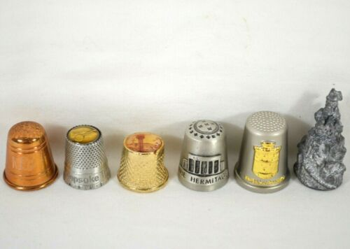 LOT of 6 Collectible Pewter & Metal Thimbles