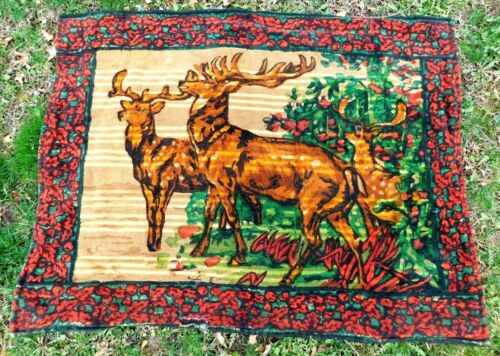 ANTIQUE VICTORIAN MOHAIR CARRIAGE BLANKET WITH 3 STAG HEADS 47 by 60.5 INCHES