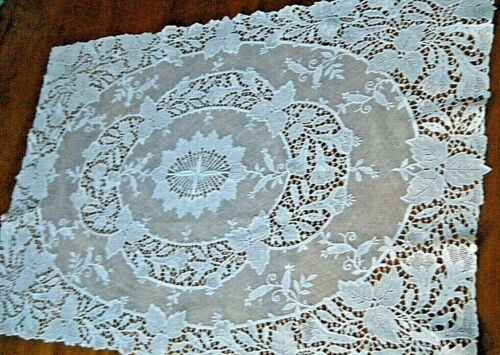 """Old table topper lace Schiffli Lace point to rose net lace design Europe 23""""x16"""""""