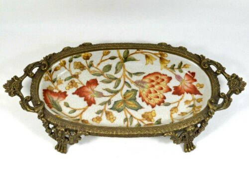 Vtg Antique HUA RONG TANG ZHI Soap Dish Porcelain Brass Footed Trinket Tray