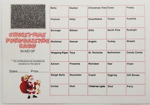 5 x FUNDRAISING SCRATCH CARDS CHRISTMAS THEME FULL COLOUR CHRISTMAS PARTY GAME