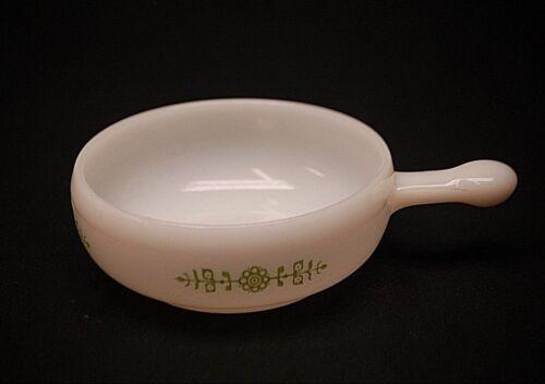 Vintage Retro Glasbake Milk Glass Chili Soup Bowl Lug Handle Green Modern Floral