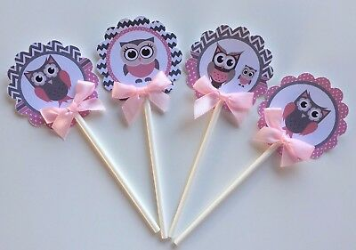 Owl Pink and  Gray,  Owl  cupcake  topper, Owl cupcake toppers/ baby Owl](Owl Cake Topper)